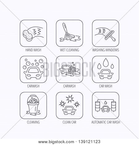 Car wash icons. Automatic cleaning station linear signs. Washing windows, sponge and foam bucket flat line icons. Flat linear icons in squares on white background. Vector