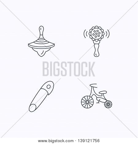 First bike, whirligig and rattle toy icons. Pin linear sign. Flat linear icons on white background. Vector