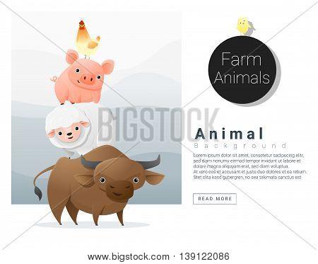 Farm animals background , vector , illustration