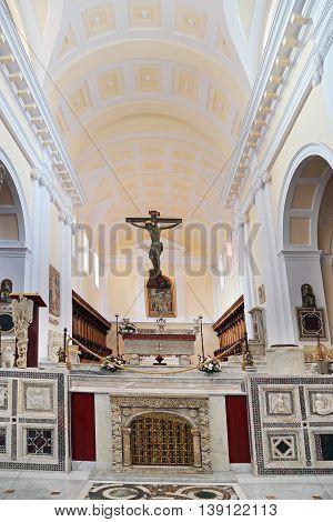 GAETA ITALY - JUNE 25, 2016: Cathedral Basilica of Gaeta Italy - Interior