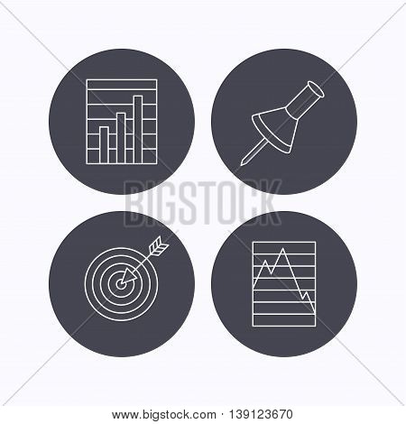 Pushpin, graph charts and target icons. Supply and demand linear signs. Flat icons in circle buttons on white background. Vector