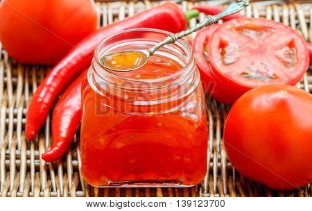 Spicy Sauce Of Tomatoes And Pepper For Meat And Pasta. Ketchup. Jam. Chutney. Confiture