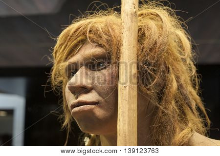 Madrid Spain - July 10 2016: Life-sized sculpture of Neanderthal female at National Archeological Museum of Madrid