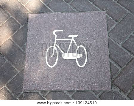 Bicycle sign in Amsterdam street Netherlands Europe