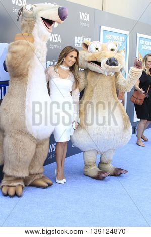 LOS ANGELES - JUL 17:  Jennifer Lopez, Ice Age Characters at the 'Ice Age: Collision Course' at the 20th Century Fox Lot on July 17, 2016 in Los Angeles, CA