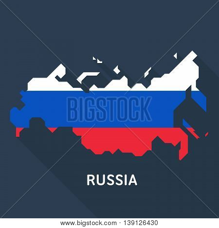 Russian map and flag isolated on dark blue background. Vector template for website, design, cover, infographics. Graph illustration.