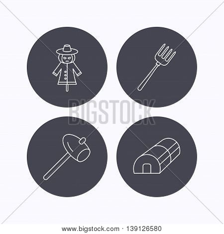Hammer, hothouse and scarecrow icons. Pitchfork linear sign. Flat icons in circle buttons on white background. Vector