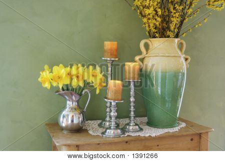 Dafodils And Wildflowers On Table