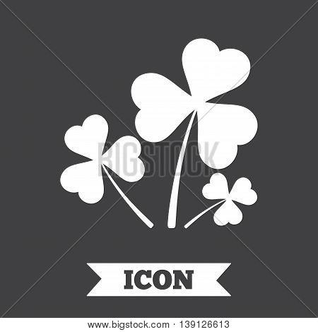 Clovers with three leaves sign icon. Saint Patrick trefoil shamrock symbol. Graphic design element. Flat trefoil clover symbol on dark background. Vector