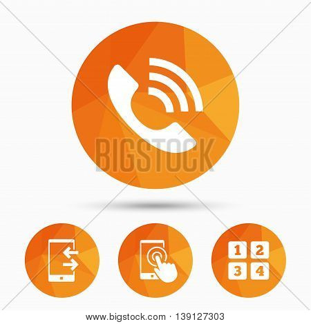 Phone icons. Touch screen smartphone sign. Call center support symbol. Cellphone keyboard symbol. Incoming and outcoming calls. Triangular low poly buttons with shadow. Vector