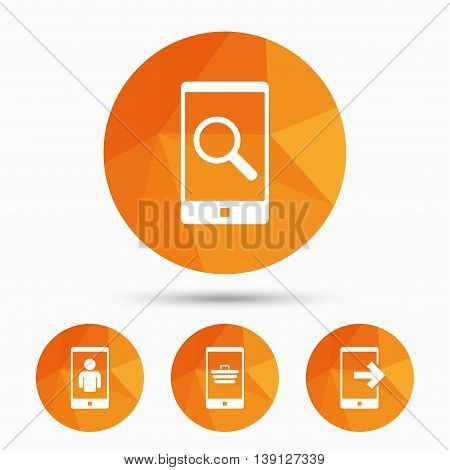 Phone icons. Smartphone video call sign. Search, online shopping symbols. Outcoming call. Triangular low poly buttons with shadow. Vector