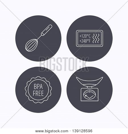 Kitchen scales, whisk and heat-resistant icons. BPA free linear sign. Flat icons in circle buttons on white background. Vector