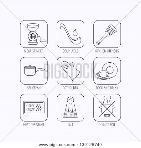 Soup ladle, potholder and kitchen utensils icons. Salt, not boil and saucepan linear signs. Meat grinder, water drop and coffee cup icons. Flat linear icons in squares on white background. Vector