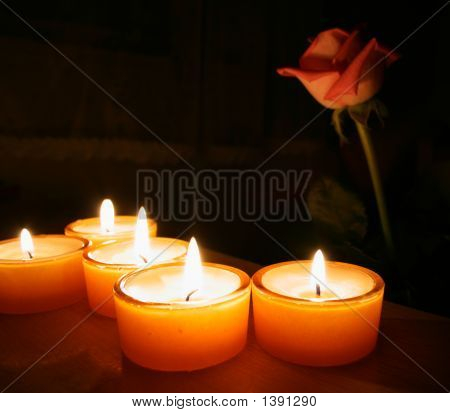 Candles And Rose