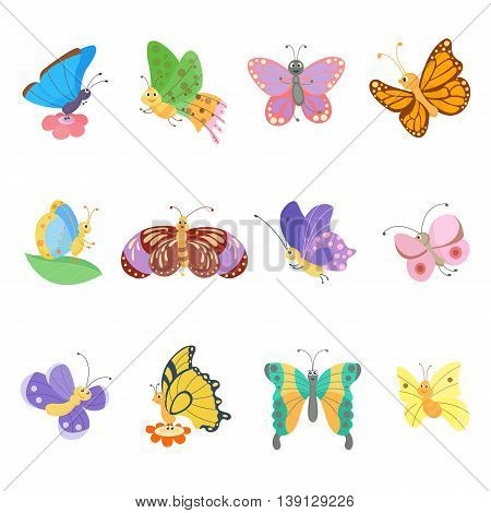 Colorful butterflies flat style vector insects. Vector butterfly set. Butterfly colorful different types. Butterfly silhouette isolated on white background. Insects fly symbols
