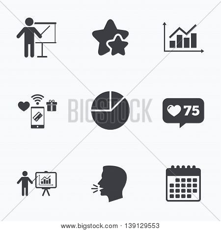 Diagram graph Pie chart icon. Presentation billboard symbol. Supply and demand. Man standing with pointer. Flat talking head, calendar icons. Stars, like counter icons. Vector