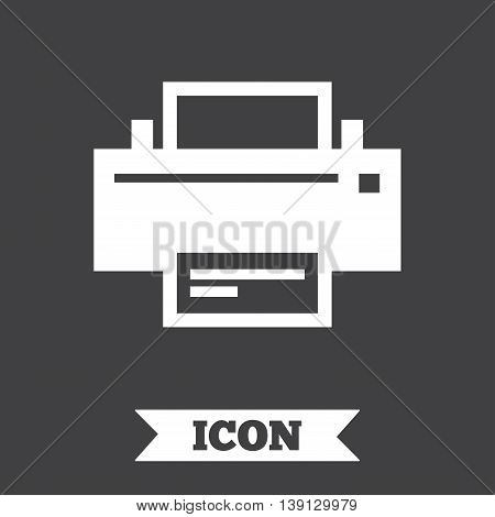 Print sign icon. Printing symbol. Print button. Graphic design element. Flat print symbol on dark background. Vector