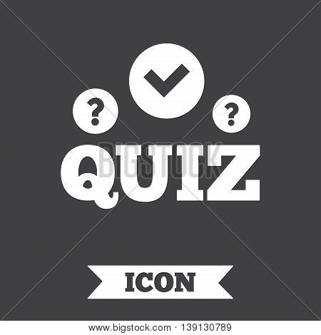 Quiz with check and question marks sign icon. Questions and answers game symbol. Graphic design element. Flat quiz symbol on dark background. Vector