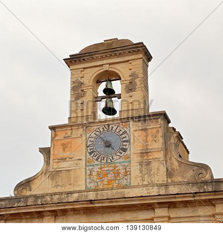 GAETA ITALY - JUNE 25 2016: Church of Santissima Annunziata exterior fragment. Gaeta Italy