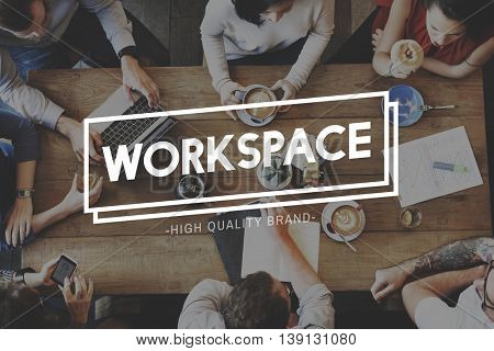 Workspace Workplace Office Building Workroom Concept poster