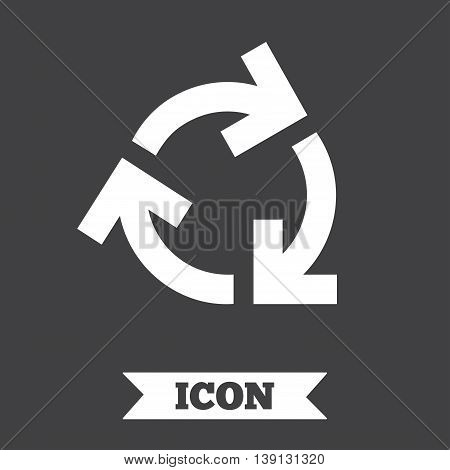 Recycling sign icon. Reuse or reduce symbol.. Graphic design element. Flat reuse or reduce symbol on dark background. Vector