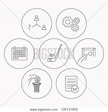 Football, ice hockey and basketball icons. Vacancy linear sign. Check file, calendar and cogwheel icons. Vector