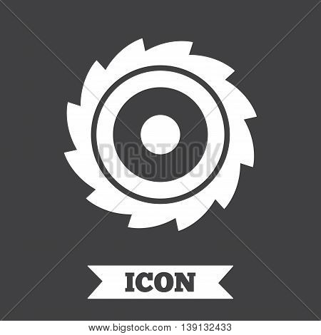 Saw circular wheel sign icon. Cutting blade symbol. Graphic design element. Flat circular saw symbol on dark background. Vector