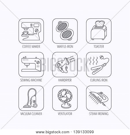 Coffee maker, sewing machine and toaster icons. Ventilator, vacuum cleaner linear signs. Hair dryer, steam ironing and waffle-iron icons. Flat linear icons in squares on white background. Vector