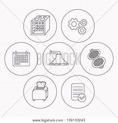 Oven, toaster and waffle-iron icons. Kitchen hood linear sign. Check file, calendar and cogwheel icons. Vector