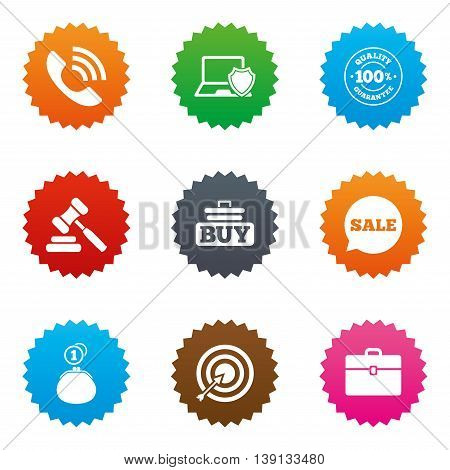 Online shopping, e-commerce and business icons. Auction, phone call and sale signs. Cash money, case and target symbols. Stars label button with flat icons. Vector