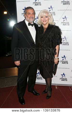 NEW YORK-OCT 19: Joe Germanotta (L) and Cynthia Germanotta attend the 2015 National Arts Awards at Cipriani 42nd Street on October 19, 2015 in New York City.