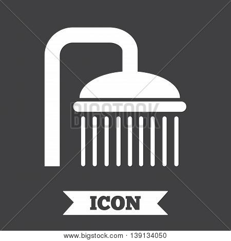 Shower sign icon. Douche with water drops symbol. Graphic design element. Flat shower symbol on dark background. Vector
