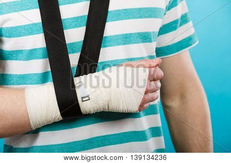 Part Body Man With Bandaged Hand.