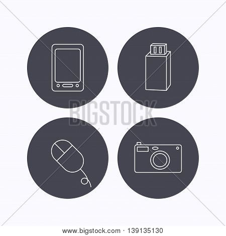 Tablet PC, USB flash and photo camera icons.PC mouse linear sign. Flat icons in circle buttons on white background. Vector