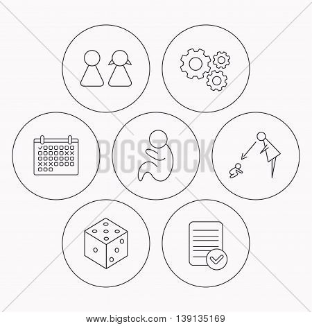 Couple, paediatrics and dice icons. Under supervision linear sign. Check file, calendar and cogwheel icons. Vector