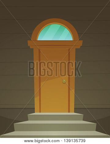 Cartoon illustration of the retro front door with glass.