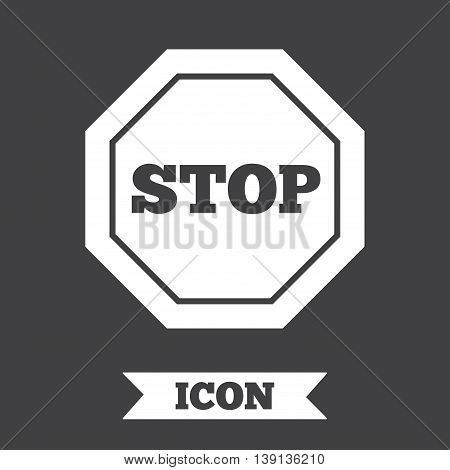 Traffic stop sign icon. Caution symbol. Graphic design element. Flat stop symbol on dark background. Vector
