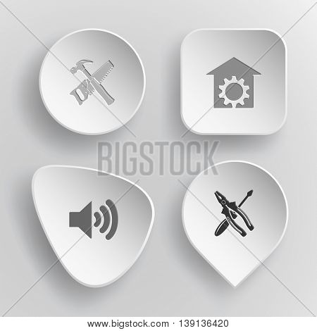 4 images: hand saw and hammer, repair shop, loudspeaker, screwdriver and combination pliers. Tehnology set. White concave buttons on gray background. Vector icons.