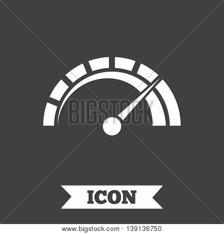 Tachometer sign icon. Revolution-counter symbol. Car speedometer performance. Graphic design element. Flat tachometer symbol on dark background. Vector