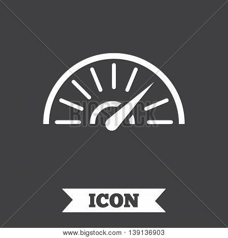 Tachometer sign icon. Revolution-counter symbol. Car speedometer performance. Graphic design element. Flat speed symbol on dark background. Vector