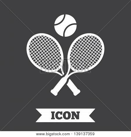 Tennis rackets with ball sign icon. Sport symbol. Graphic design element. Flat tennis rackets symbol on dark background. Vector