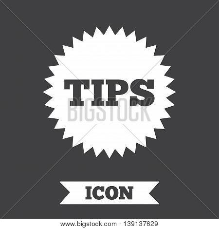 Tips sign icon. Star symbol. Service money. Graphic design element. Flat tips symbol on dark background. Vector