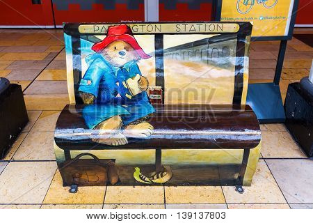 Paddington Bear Bench At Paddington Station In London, Uk