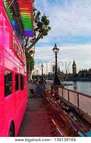 Pink Double Decker Bus In London, Uk