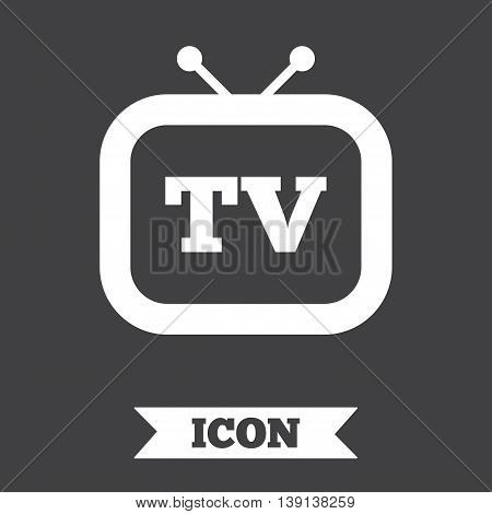 Retro TV sign icon. Television set symbol. Graphic design element. Flat retro TV symbol on dark background. Vector