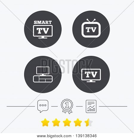 Smart TV mode icon. Widescreen symbol. Retro television and TV table signs. Chat, award medal and report linear icons. Star vote ranking. Vector