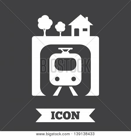 Underground sign icon. Metro train symbol. Graphic design element. Flat underground metro symbol on dark background. Vector