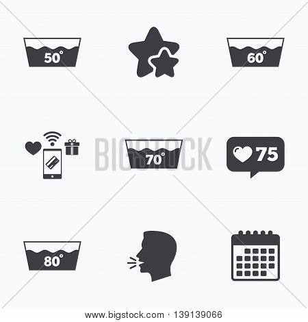 Wash icons. Machine washable at 50, 60, 70 and 80 degrees symbols. Laundry washhouse signs. Flat talking head, calendar icons. Stars, like counter icons. Vector