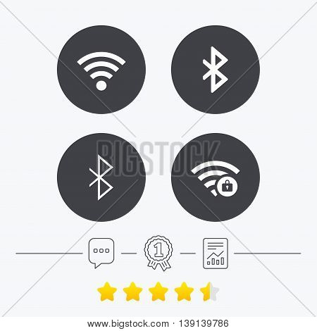 Wifi and Bluetooth icons. Wireless mobile network symbols. Password protected Wi-fi zone. Data transfer sign. Chat, award medal and report linear icons. Star vote ranking. Vector