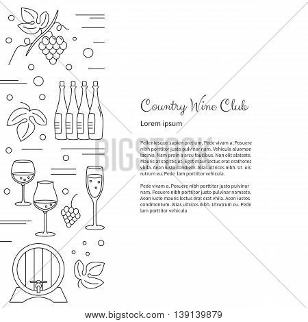 Winemaking, wine tasting flyer, poster with winery symbols with place for your text. raster design template with winery graphic design elements in mono line style isolated on a white background.
